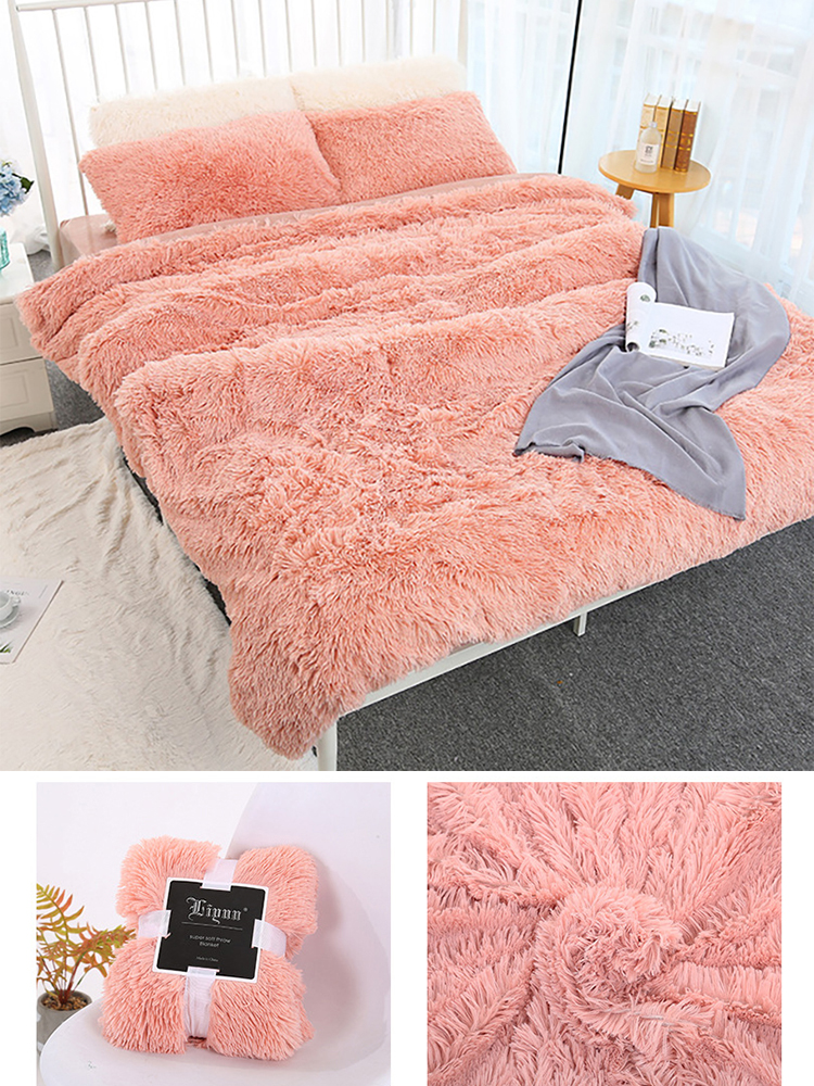160*200 Shaggy Coral Blanket Warm Soft Blanket For Bed Sofa Bed Bedspreads Home Decoration Comfortable Bed Cover Plaid Blankets-1
