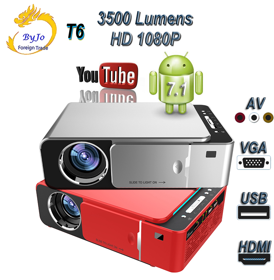 Original UNIC T6 projecteur LED 3500 Lumens HDMI USB FULL HD 1080p projecteur WIFI Bluetooth Android 7.1 3D Home cinéma Proyector
