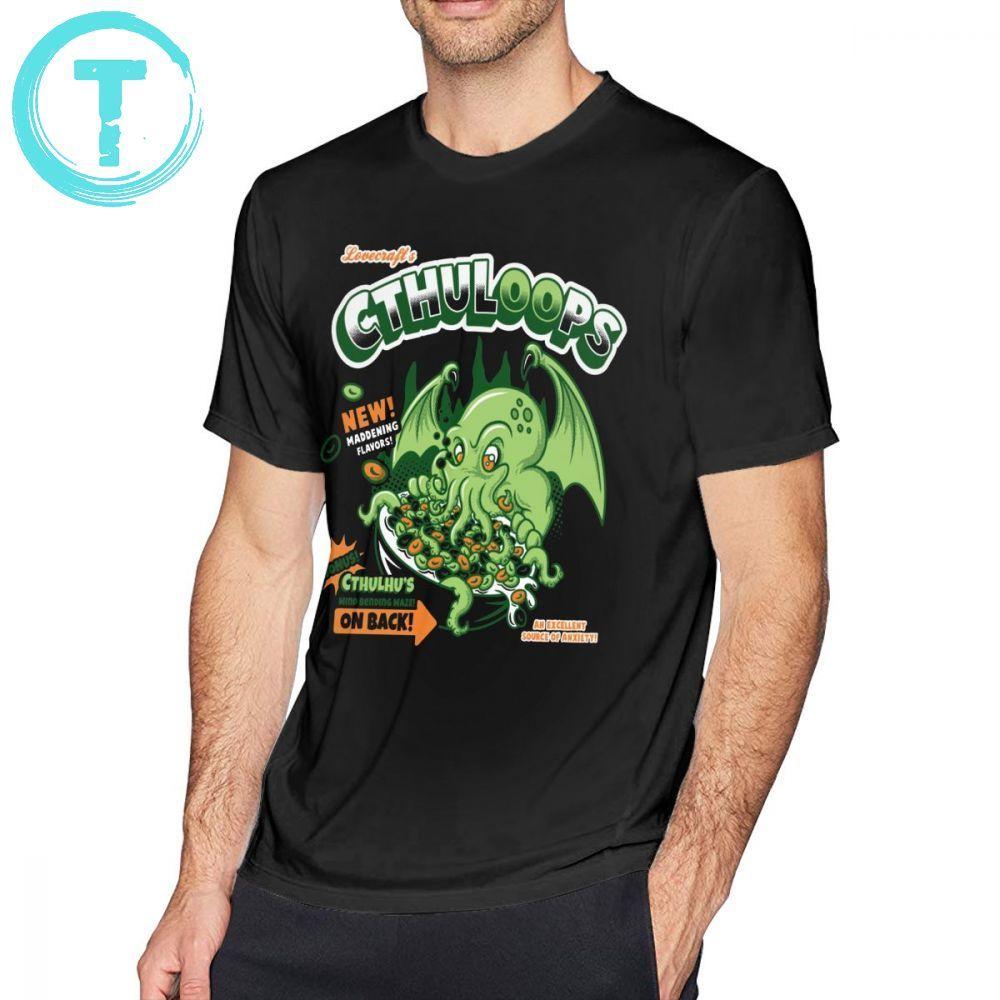 Cthulhu T Shirt Cthuloops All New Flavors T-Shirt 100 Percent Cotton Print Tee Shirt Short Sleeves Man Summer Funny Tshirt