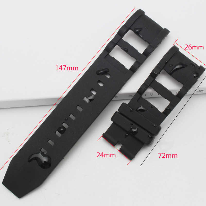 New Black 26mm Diving Silicone Rubber Watchband for Invicta strap Watch belt Man Noma band Sports Specific Lug