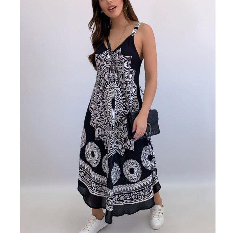 Summer Vintage Elegant Print V-neck Sleeveless Beach Party Long Dress 2021 Women Dresses Vestidos De Verano Casual Boho Sundress 9