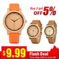 BOBO VOGEL Holz Uhr Männer Damen Räumung preis Förderung Quarz Armbanduhren Männlichen Frauen Lederband relogio masculino