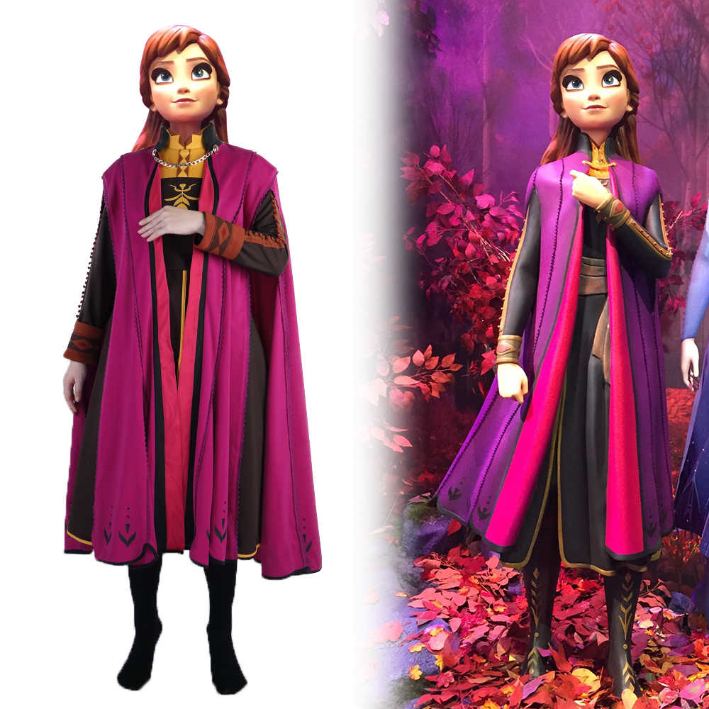 Frozen 2 Snow Queen Anna Elsa Princess Cosplay Costume Outfit Full Set Halloween Costumes Fancy Dress High Quality Party New