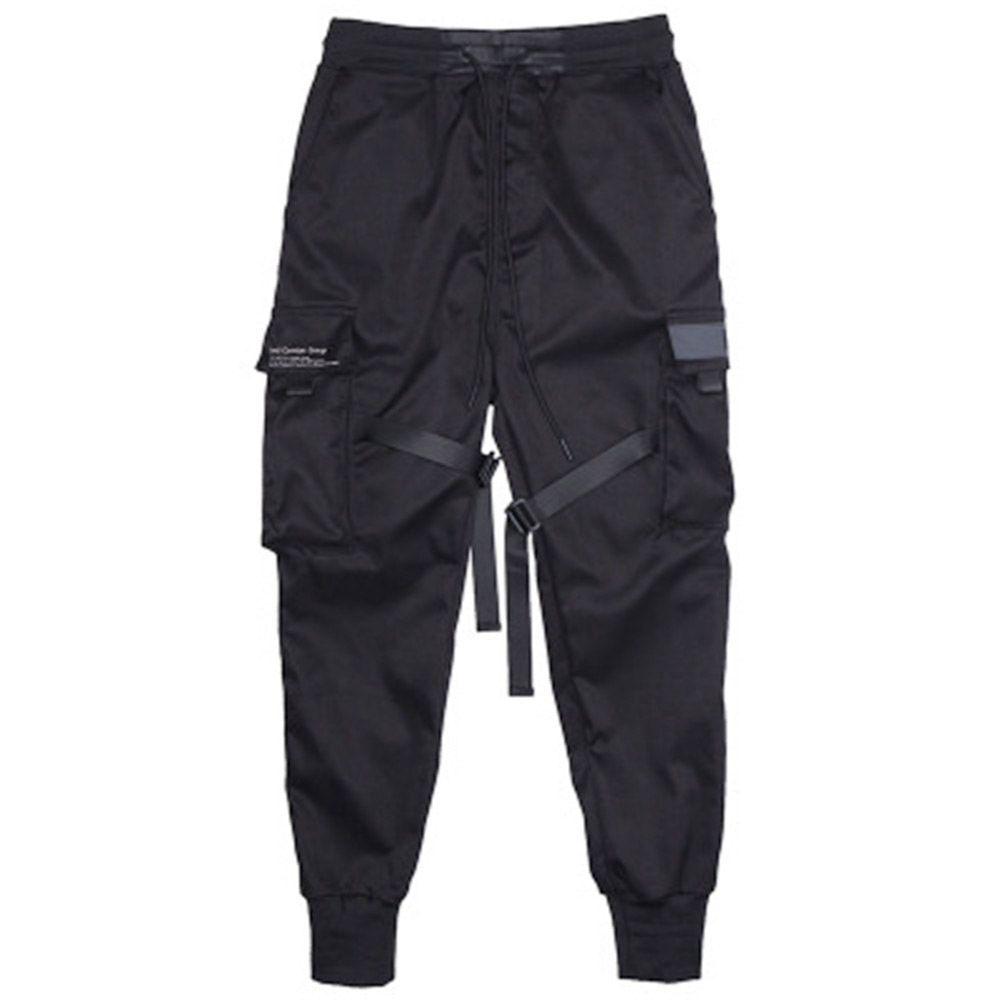 Мужские штаны для бега, черные брюки, спортивные штаны, Уличная Одежда для танцев, спортивные штаны, повседневные штаны в стиле хип-хоп с завязками, мужская одежда