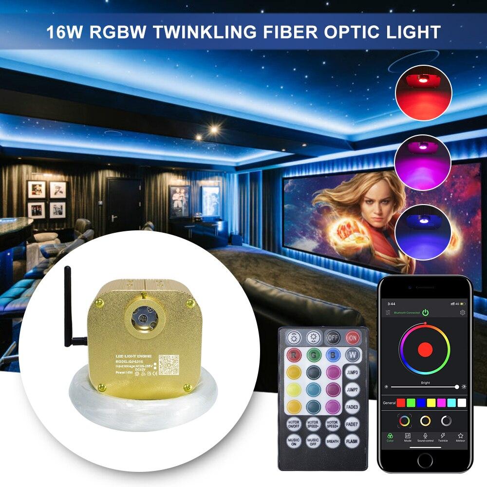 Fiber Optic Light  Bluetooth App  Control  Cree Chip 16W Twinkle RGBW Engine Ceiling Star Lights 4m Music Sound Control