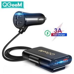 Image 1 - QGEEM 4 USB QC 3.0 Car Charger Quick Charge 3.0 Phone Car Fast Front Back Charger Adapter Car Portable Charger Plug for iPhone