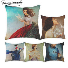 Fuwatacchi Linen Cushion Covers Beautiful Women Pillow Cover for Home Chair Sofa Decorative People Printed Pillowcases 45x45cm fuwatacchi floral cushion cover feather leaves gold pillow cover for decor sofa chair square decorative pillowcases