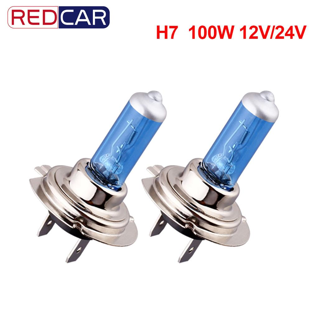 2pcs H7 100W Super Bright White 12V 24V Fog Lights Halogen Bulb Car Light Source Parking High Power Car Headlights Auto Lamp