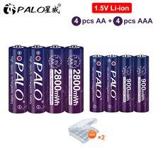 PALO 2800mWh 1.5V AA Rechargeable Li ion Li ion Battery + 900mwh Li ion Lithium 1.5V AAA Rechargeable Batteries for Toys Clock