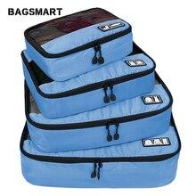 """Bagsmart respirável 4 conjunto de embalagem verpakking cubos reizen bagage organizador conjunto cubo apto 23 """"levar em mala viagem saco"""