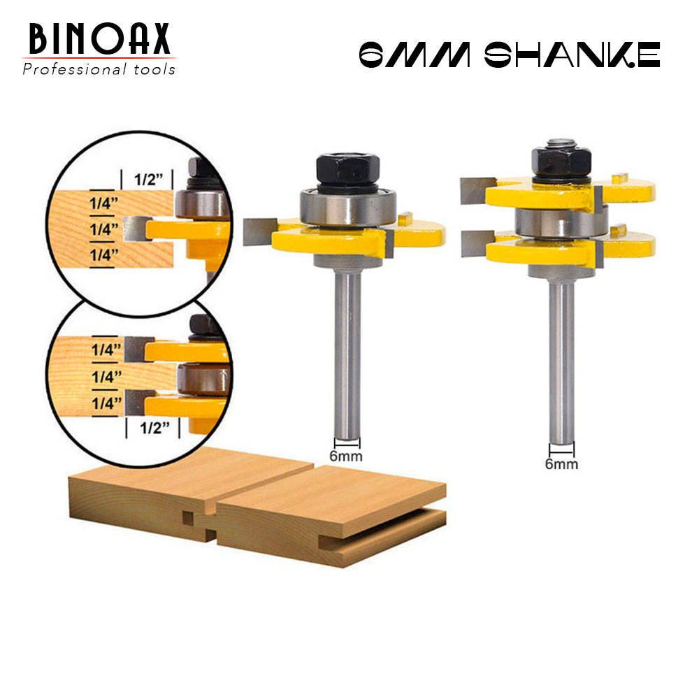 2 Bit Tongue and Groove Router Bit Set Wood Milling Cutter flooring knife-6MM Shank