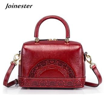 цена на Small Crossbody Handbag for Women Genuine Leather Vintage Bag Ladies Messenger Bags Red Embossed Tote Purse Boston Shoulder Bag