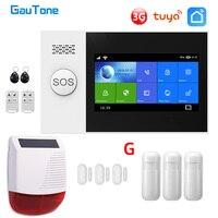 GauTone PG107 WiFi 3G Alarm System für Home Security mit PIR Drahtlose Solar Sirene Unterstützung Tuya Fernbedienung