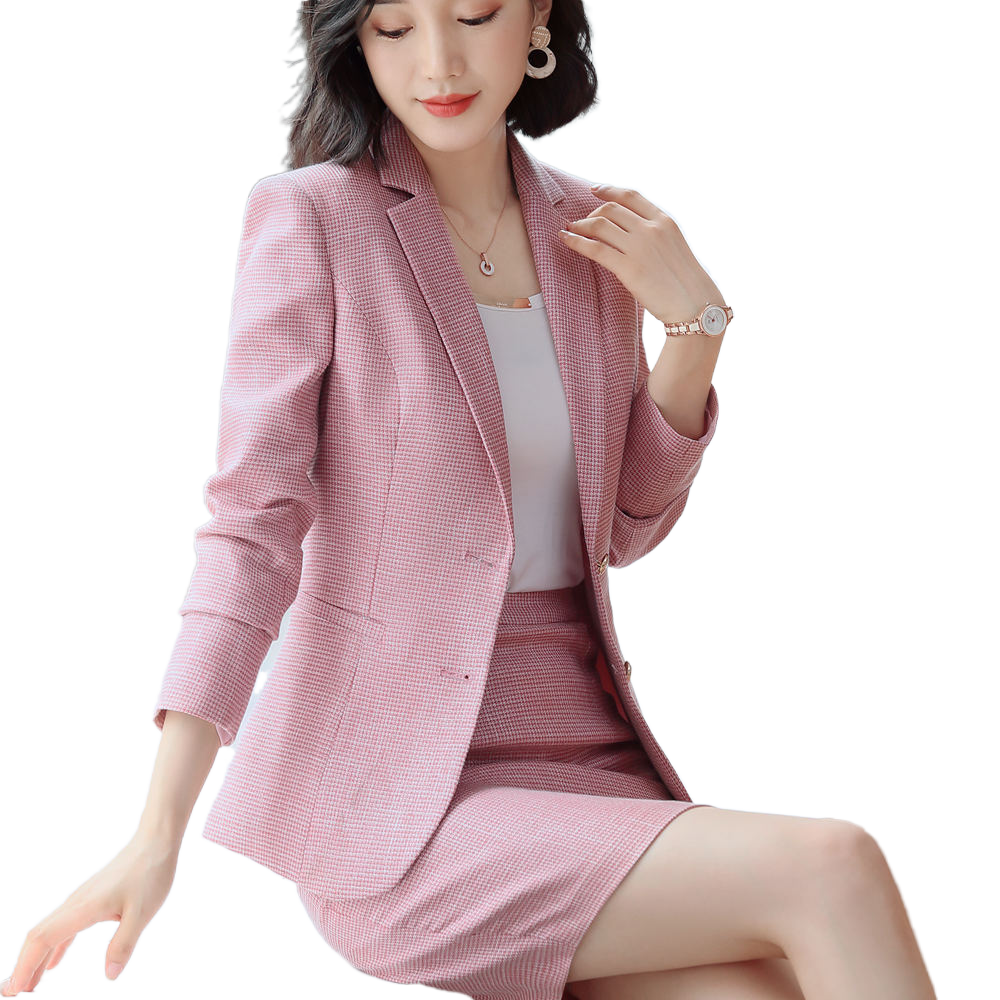 Pink Suit Skirt And Blazer Set Female Houndstooth Full Sleeve Jacket+Skirt 2 Piece Set Plus Size Business Wear Lady Uniform