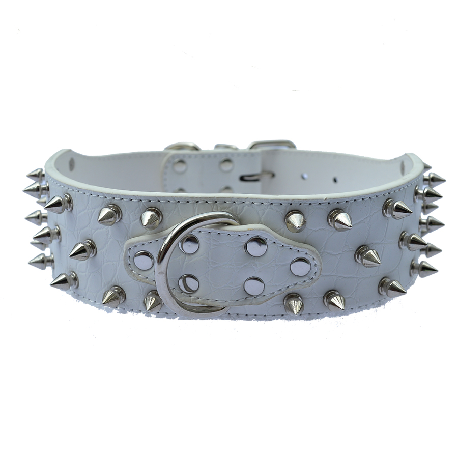 Fashion Spiked Studded Dog Collars For Big Dogs Croc Pu Leather Collar Pet Neck Strap Adjustable Buckle Size M L XL XXL in Collars from Home Garden