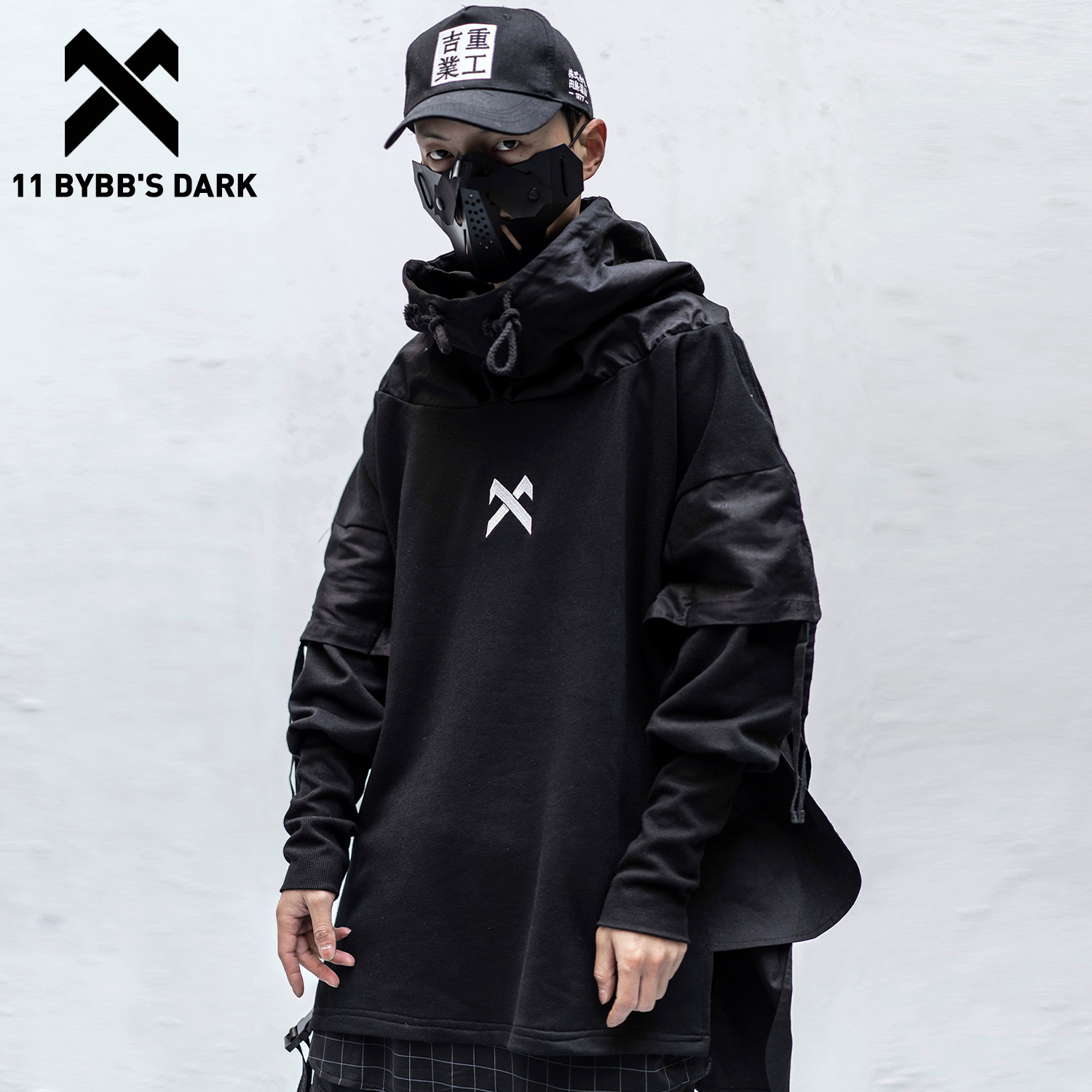 11 BYBB'S DARK Japanese Patchwork Hoodies Men Hip Hop Embroideried Pullover Fake Two Techwear Hoodies Streetwear Darkwear Tops