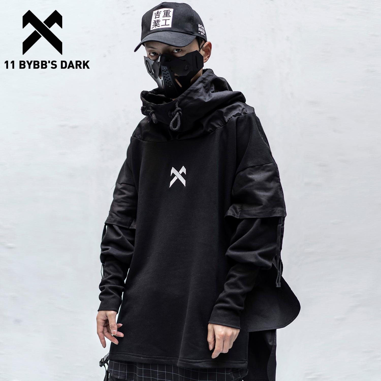11 BYBB'S DARK Japanese Patchwork Hoodies Men Hip Hop Embroideried Pullover Fake Two Techwear Hoodies Streetwear Darkwear Tops