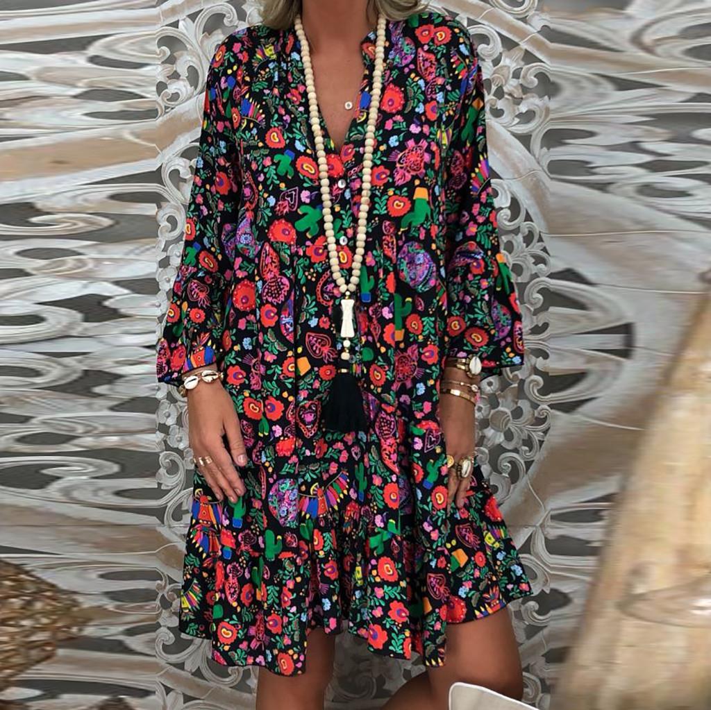 40# Boho Style Floral Print Pleated Dress Long Sleeve Women Mini Dress V neck Loose Ladies Dresses Beach Sundress Ropa Mujer