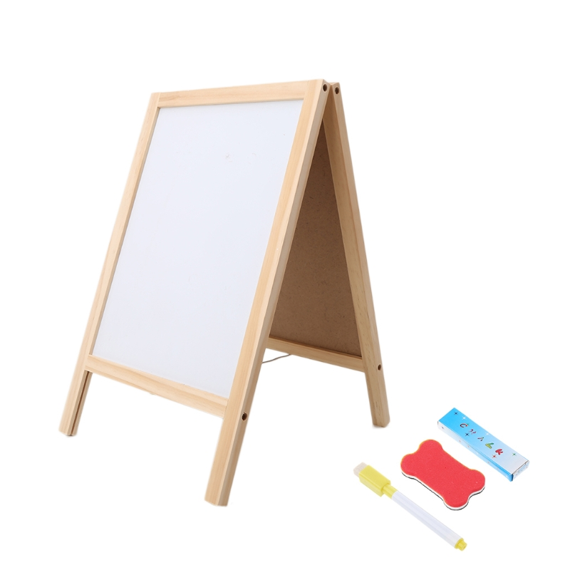 Mini Wooden Tripod Blackboard Small Double Easel Message Board Whiteboard LX9A