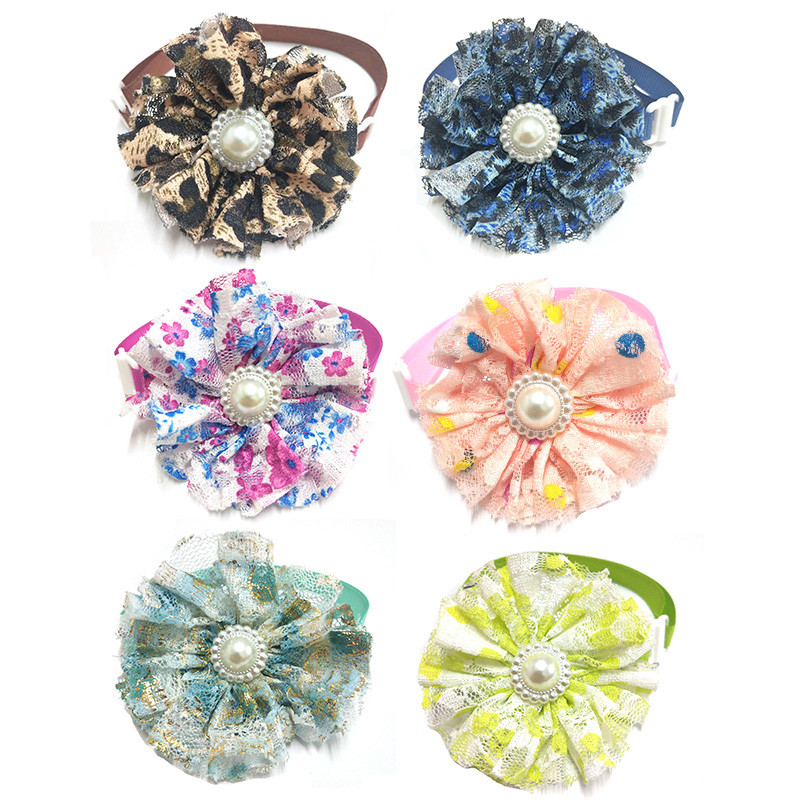 30/50pcs Colorful Flower Adjustable Dog Cat Bow Tie Lace Pearl Pet Dog Bow Tie Puppy Bows for Small Middle Big Dogs Pet Supplies