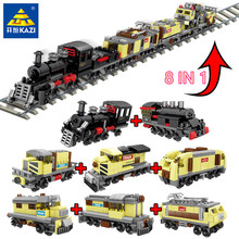 8Pcs/lot 950Pcs Urban Train Carriage Lot Passenger Wagon Cargo Car Building Blocks City Bricks LegoING Technic Toys for Children