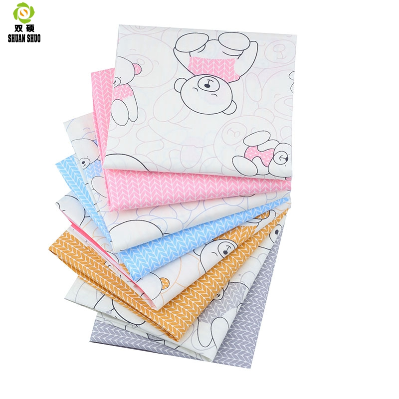 Shuanshuo Cartoon Bear Patchwork Fabric Tissue Cloth Of Handmade Diy Quilting Sewing Baby Children Sheets Dress 40 50cm 8pcs Lot Fabric Aliexpress