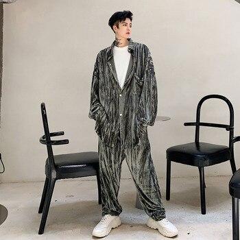 Men 2PCS Sets (shirt+pant) Vintage Fashion Velvet Casual Long Sleeve Shirt Straight Trouser Male Streetwear Hip Hop Shirt