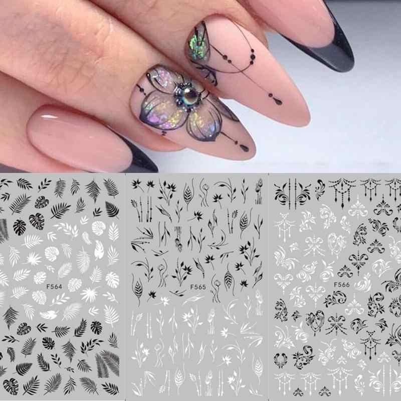 1 blatt Schwarz Weiß 3D Nail art Aufkleber Aufkleber Blume Blatt Baum Grün Einfache Sommer DIY Slider für 3D Aufkleber