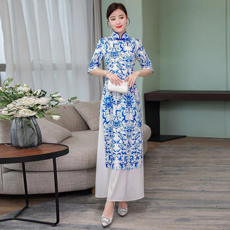 Vietnam Ao Dai Traditional Clothing Blue And White Porcelain Cheongsam Asia Dress For Women Vintage Aodai Clothes