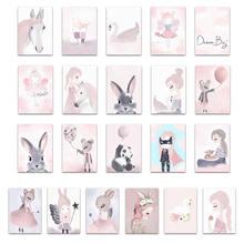 Северный акварельный мультфильм Единорог Олень Кролик Девочка