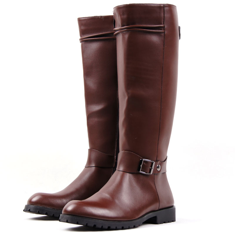 HOT Womens Knee High Boots Riding Equestrian Pointy Toe Buckle Zip Leather Shoes