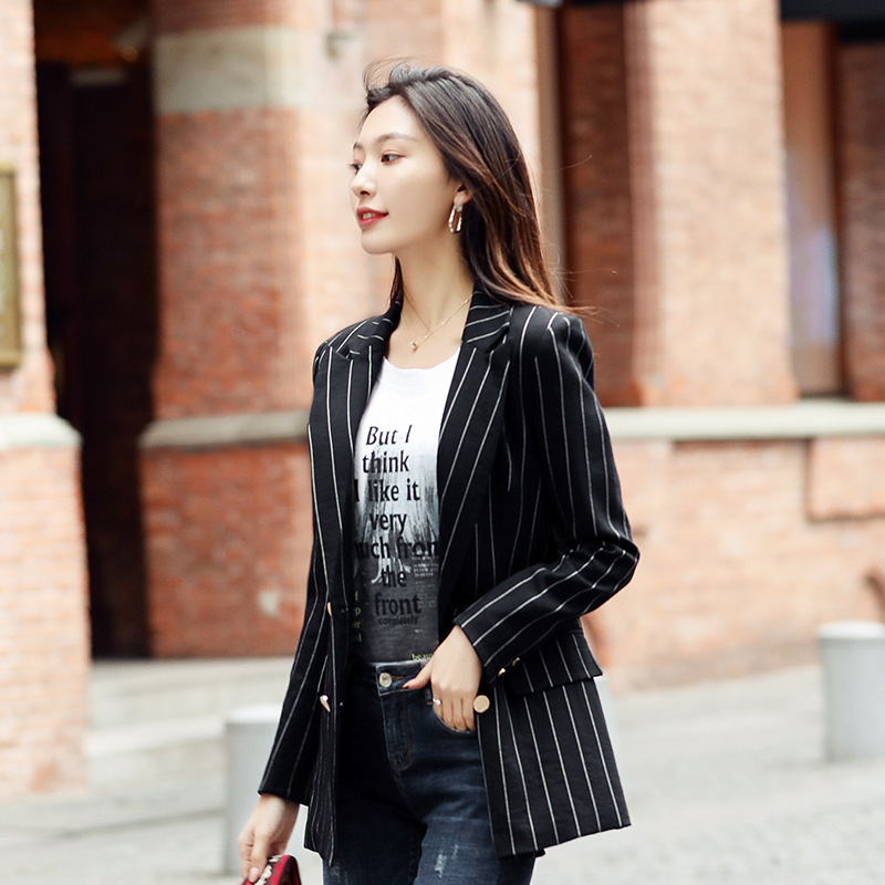 Large Size S-4XL Women's Blazer Casual Double-breasted Loose Striped Full Sleeve Autumn Ladies Suit Fashion Jacket Female 2019