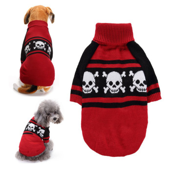 Halloween Dog Clothes for Small Medium Dogs Print High Collar Warm Dog Sweater Two Legs Pet Costume Chihuahua Pug Bulldog Outfit image