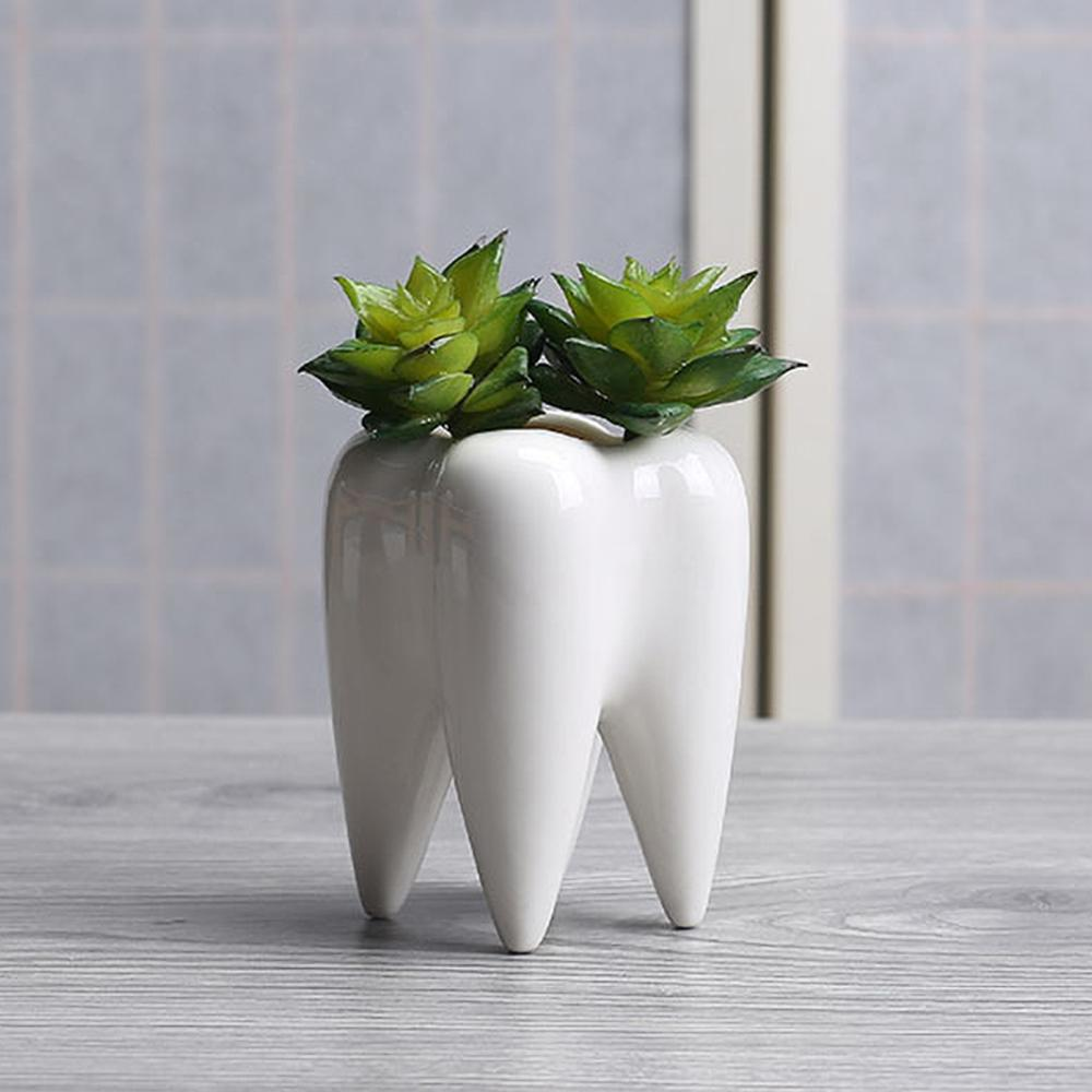 Teeth Shape Ceramic Flowerpot Innovation Modern Design White Ceramic Succulent Flower Pot  Home Decoration Not Include Plants