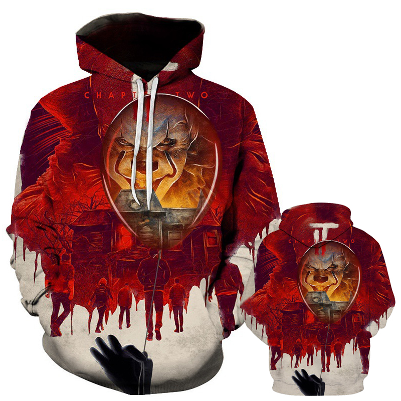New horror movie clown Stephen king 3d-printed hoodie horror movie hoodie Halloween party hip hop street costume Asian size image