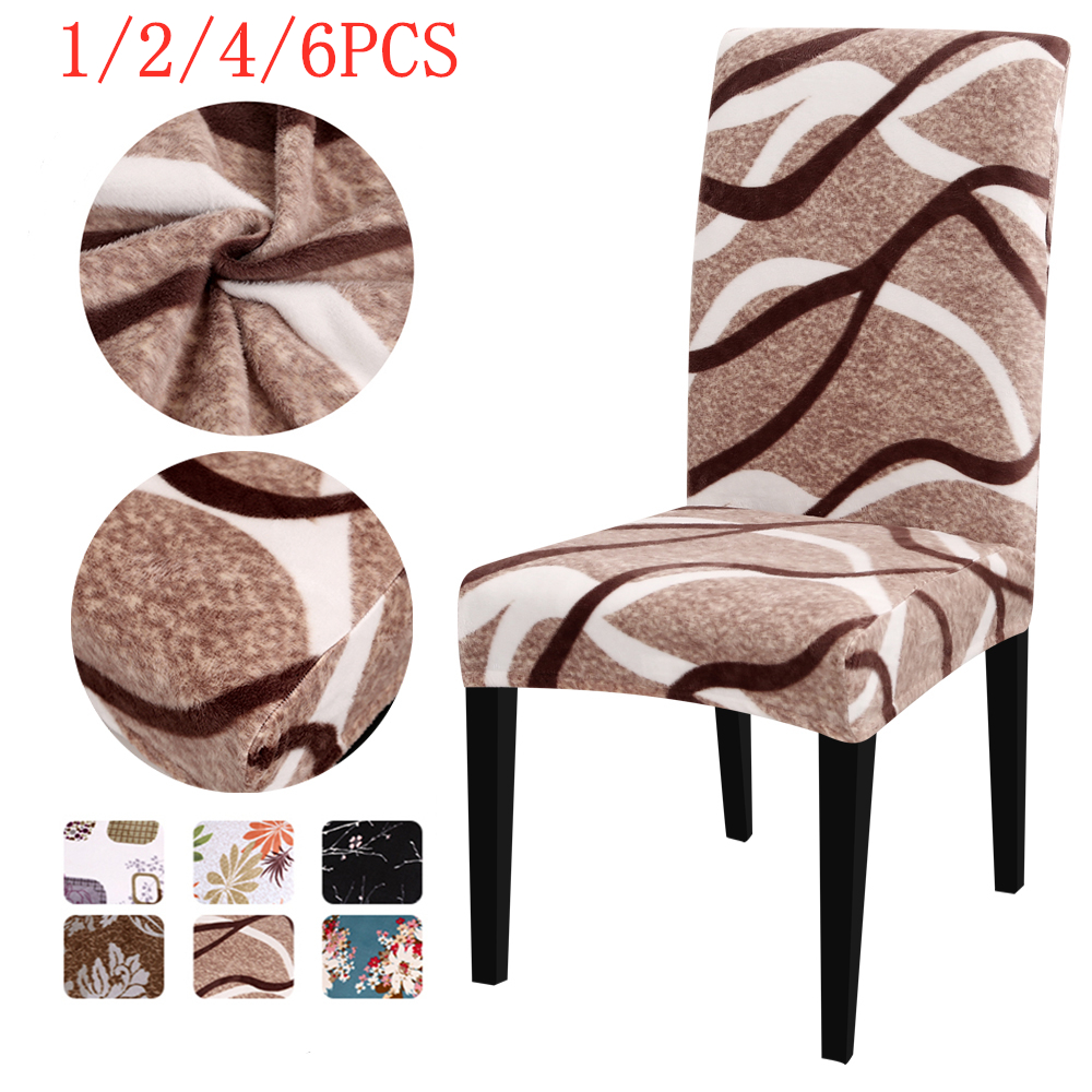 1/2/4/6Pcs Printing Thick Plush Chair Cover Stretch Elastic Slipcovers Restaurant Teddy Fleece Banquet Folding Hotel Chair Cover