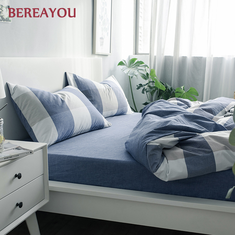 Japanese Bedding Sets Green Washed Cotton Simple Geometric Queen Size Duvet Cover Fitted Bed Sheet For Home lencol cama casal - 3