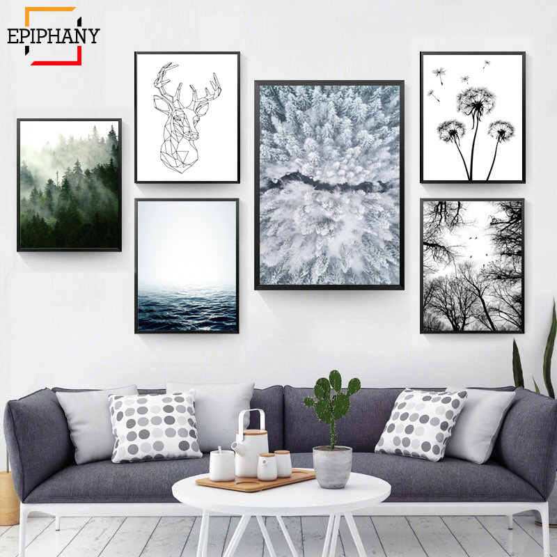 Scandinavian Forest Canvas Poster Nature Ocean Nordic Landscape Wall Art Print Painting Decorative Picture Living Room Decor title=