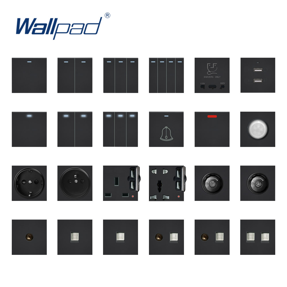 Wallpad Black Wall Light Switch Wall Power Socket Plastic Electrical Outlet Function Key Only DIY Free Combination 55*55mm