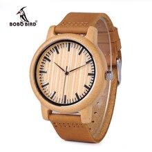 Bobo pássaro relógio de madeira casual homem relógios de quartzo de bambu com tiras de couro relojes mujer marca de lujo com caixa de presente