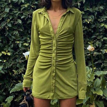 Sexy Mini Slim Dress Women Green Club Party Dress Turn-Down Collar Button Short Dresses Female Elegant Streetwear Shirt Vestidos 1