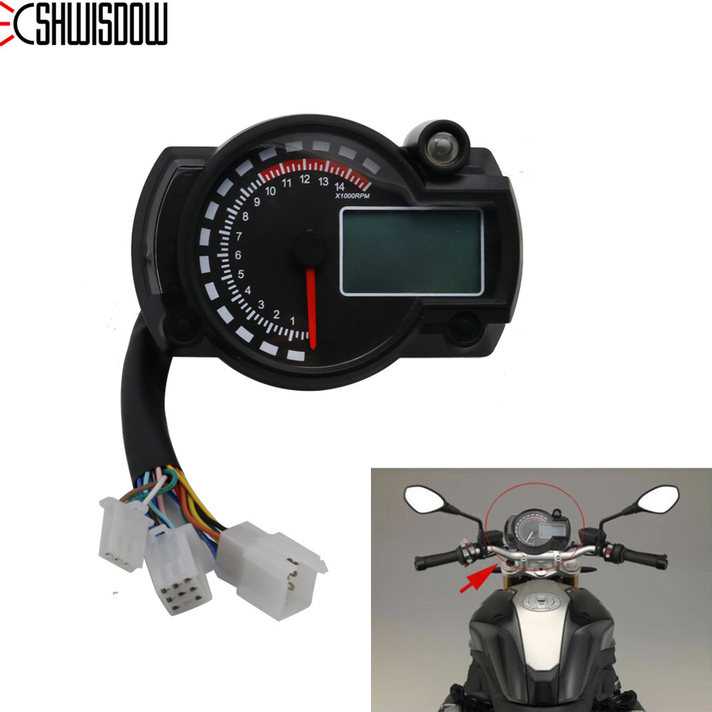 15000rpm Motorcycle Universal LCD Digital 2 Colors Speedometer Tachometer Gauge