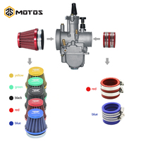 ZS MOTOS Motorcycle 21 24 26 28 30 32 34mm Carburetor + Air Filter + Intake Red Color Set Manifold Boot Holder For ATV Scooter