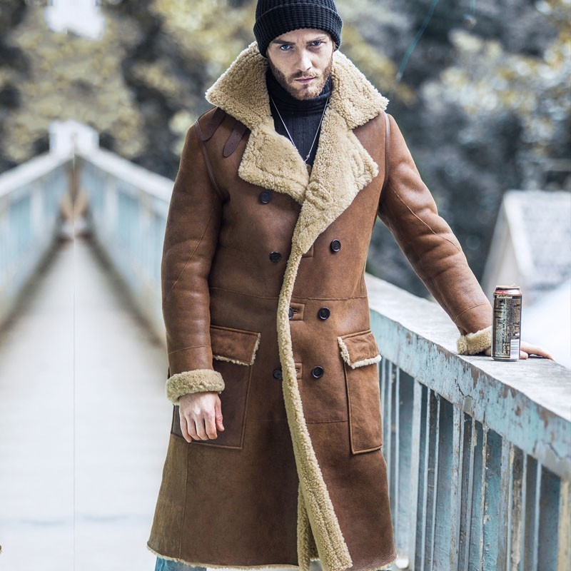 Italy Winter Warm Mens Thicken Sheep Fur Lining Overcoat Natural Shearling Luxury 100% Genuine Leather Long Coat Military Jacket
