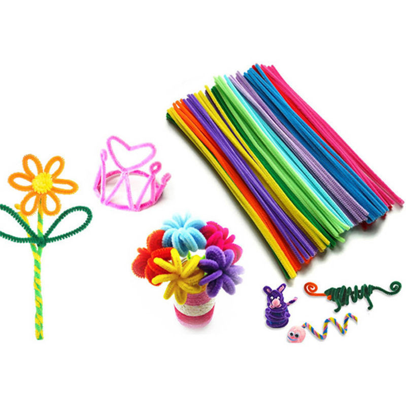 100pcs Kids Creative Colorful Diy Plush Chenille Sticks Chenille Stem Pipe Cleaner Stems Educational Toys Crafts For Kids Games