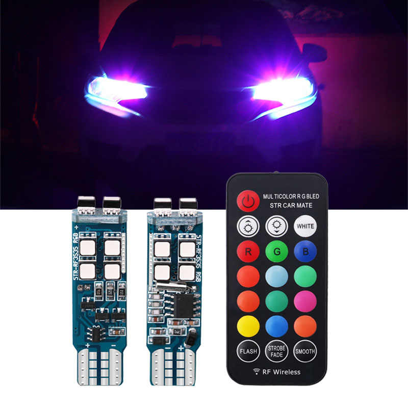 2 sztuk samochodów lampa błyskowa, światło stroboskopowe T10 W5W 194 żarówki RGB z pilotem wnętrze 12V reflektor Wedge LED atmosfera włączone światła