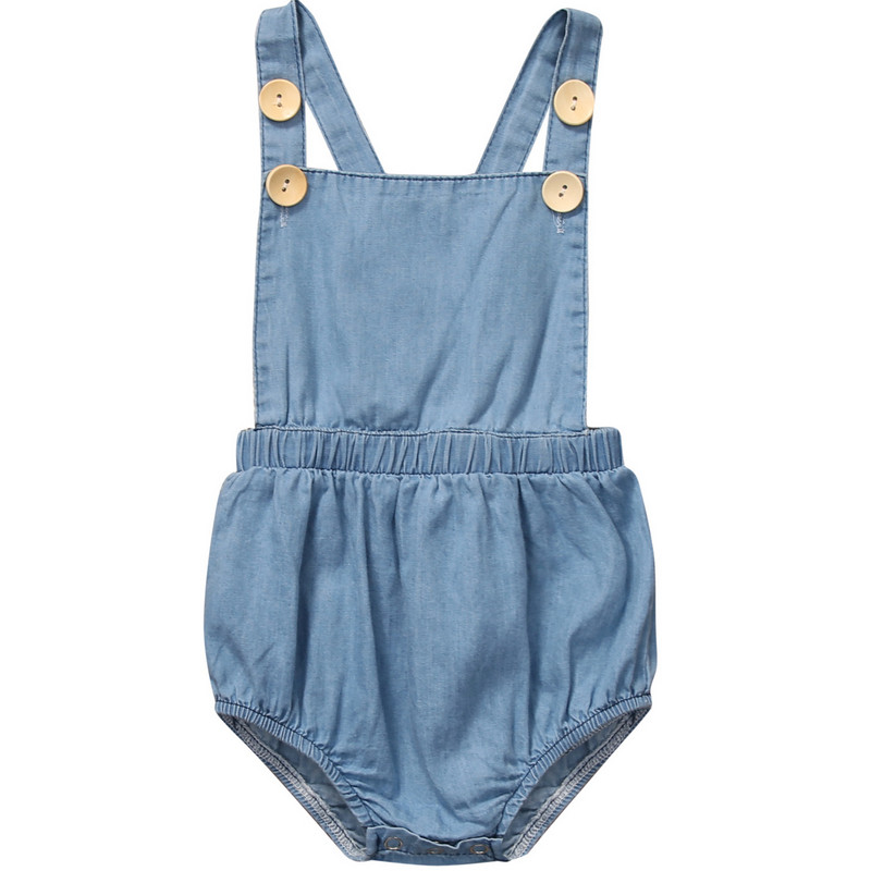 Emmababy Infant Baby Girl Denim Button Backless Fashion Jumpsuit Bodysuit Outfit Sunsuit Clothes Summer