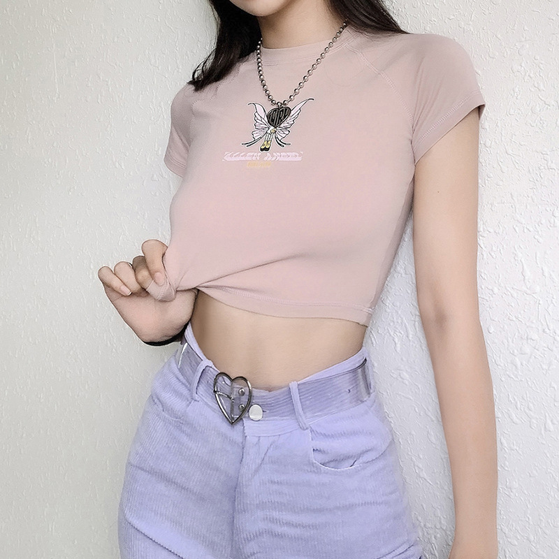 2020 E-girl butterfly graphic and letter printing stitch green crop top Y2K summer Grunge style O-neck short sleeve T-shirt sexy 4