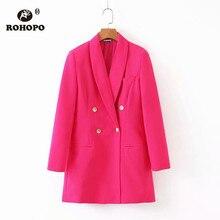 ROHOPO Ladies Autumn Dark Pink Solid Long Blazer British Office Chic Norched veste #2250