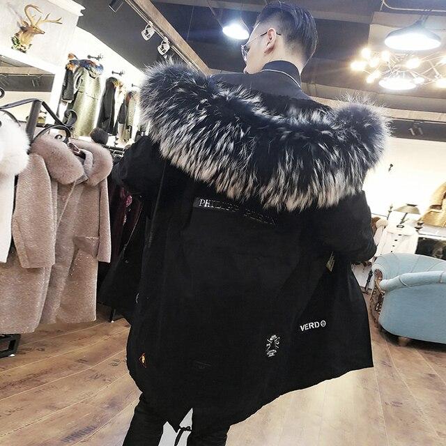 Véritable manteau de fourrure 2020 naturel mouton doublure de fourrure de raton laveur col de fourrure Parka hiver veste hommes décontractée Parkas chauds surdimensionnés W111 YY653